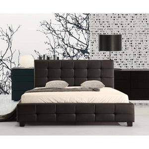 Bed Frame, PU Leather, Deluxe, Black, Double