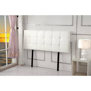 Headboard, PU Leather, Deluxe, White, Queen