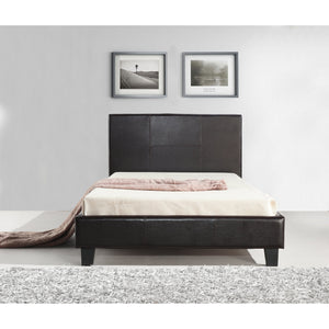 Bed Frame, PU Leather, Button Tufted, Brown, King Single