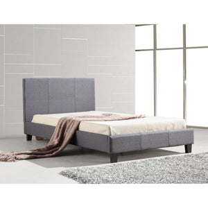 King Single Linen Fabric Bed Frame Grey