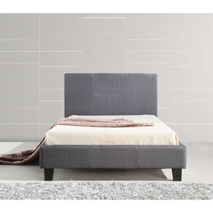 Bed Frame, Linen Fabric, Button Tufted, Grey, King SIngle