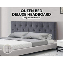 Load image into Gallery viewer, Bed Headboard, Linen Fabric, Button Tufted, Deluxe, Grey, Queen