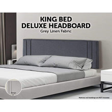 Load image into Gallery viewer, Bed Headboard, Linen Fabric, Deluxe, Grey, King