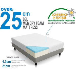 Gel Memory Foam Dual-Layered Mattress 25cm, Queen
