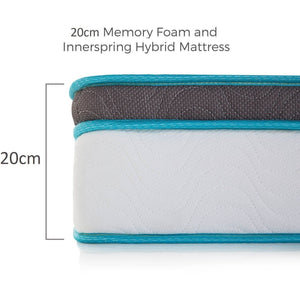 Memory Foam and Innerspring Hybrid Mattress, 20cm, Queen