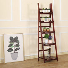 Load image into Gallery viewer, 5 Tier Wooden Ladder Shelf Stand Storage Book Shelves Shelving Display Rack