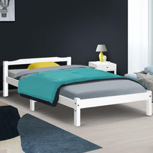 Load image into Gallery viewer, Helena Bed Frame, Wood, White, Single