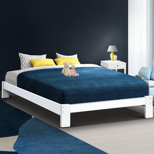 Jade Bed Frame, Wooden, White, Queen