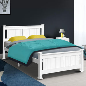 Liebert Bed Frame, Wood, White, Double
