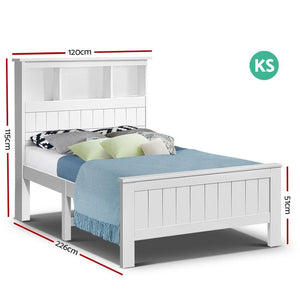 Gosard Bed Frame, Wood, White, King Single