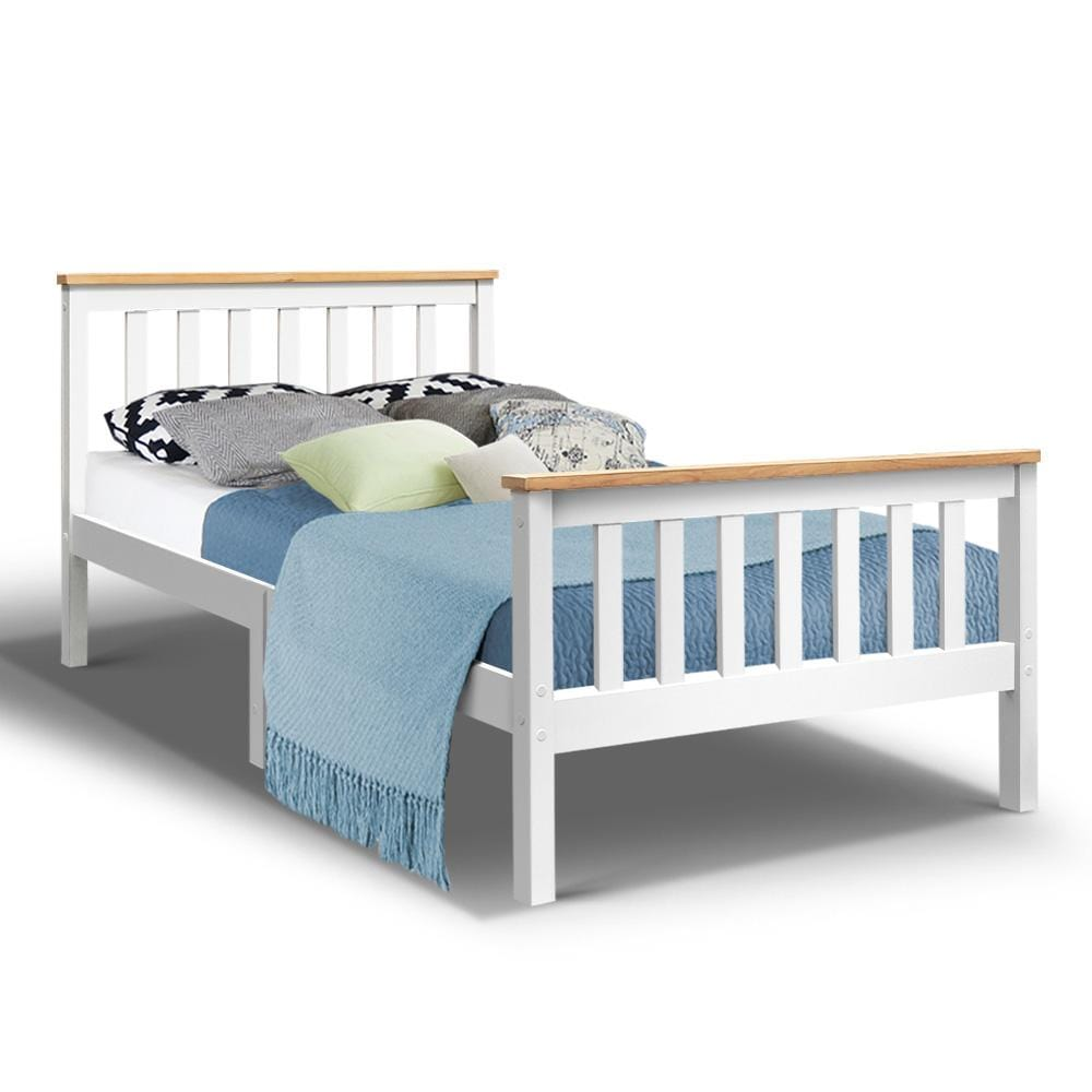Artiss King Single Wooden Bed Frame Timber  Kids Adults