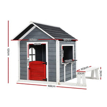 Load image into Gallery viewer, Kids' Outdoor Wooden Playhouse, Grey