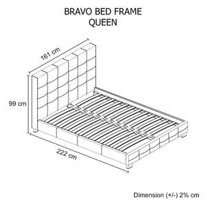 Bed Frame, Leatherette, Black, Queen