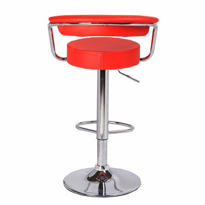 Bar Stool, PU Leather,  Red,  52 x 52 x 83cm (Set of 2)