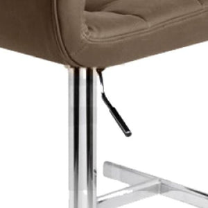 Bar Stool, PU Leather, Brown, 45 x 45 x 87cm (Set of 2)