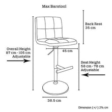 Load image into Gallery viewer, Bar Stool, PU Leather, Brown, 45 x 45 x 87cm (Set of 2)