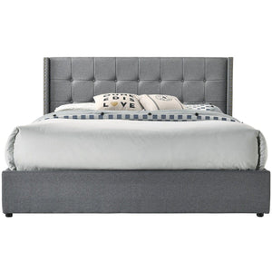Winged Fabric Bed Frame with Gas Lift, Light Grey, King