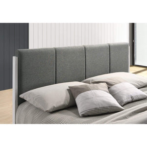 Bed Frame, Fabric Upholstered, Grey, Double