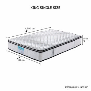 Pillowtop Mattress, 28cm Thick, King Single