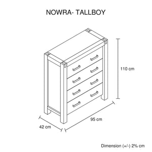 Tallboy, 4 Drawer, Oak