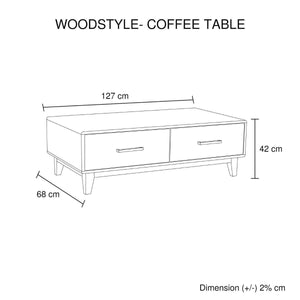 Coffee Table, 4 Drawers, 127 x 68 x 42cm