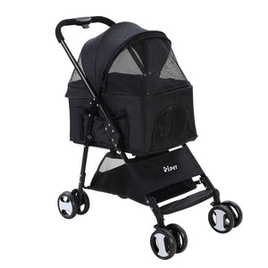i.Pet Pet Stroller Dog Carrier Foldable Pram 3 IN 1 Middle Size Black