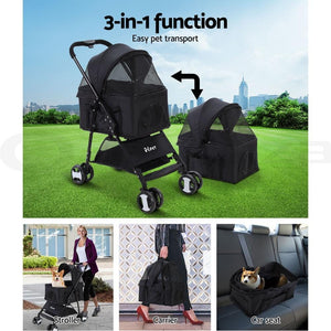 Pet Stroller, 4 Wheel, Black, Middle Size