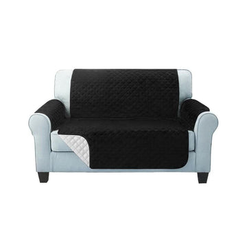 Sofa Cover, Quilted, 2 Seater, Black