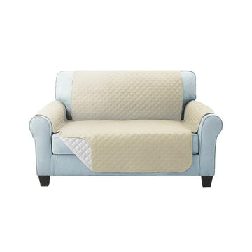 Sofa Cover, Quilted, 2 Seater, Khaki