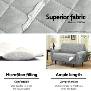 Sofa Cover, Quilted, 3 Seater, Grey