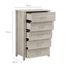 Load image into Gallery viewer, Tallboy, 5 Chest Of Drawers, White Oak