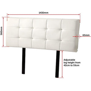 Headboard, PU Leather, Deluxe, White, Double