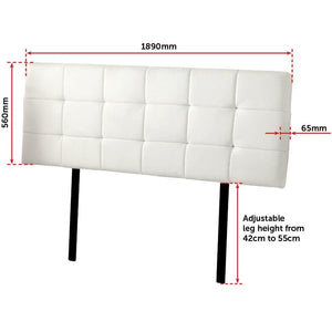 Headboard, PU Leather, Deluxe, White, King