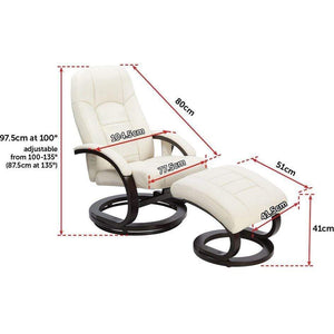 Recliner Ottoman Lounge, Massage Chair, PU Leather, Remote, Cream