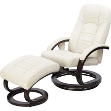 Load image into Gallery viewer, Recliner Ottoman Lounge, Massage Chair, PU Leather, Remote, Cream