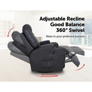 Massage Sofa Chair Recliner, 360 Degree Swivel
