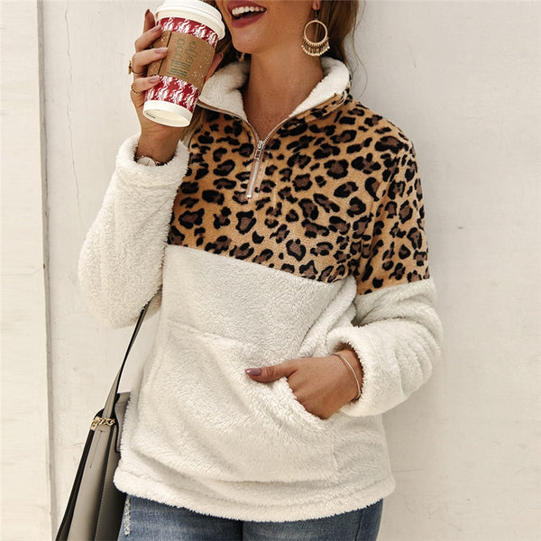 Spring Fashion Leopard Patchwork Fluffy Thick Pullover