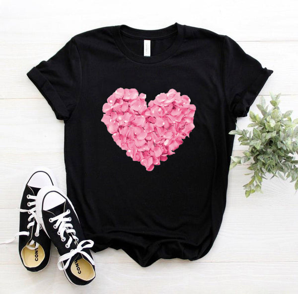 Cotton Pink Heart Flower Print T-shirt