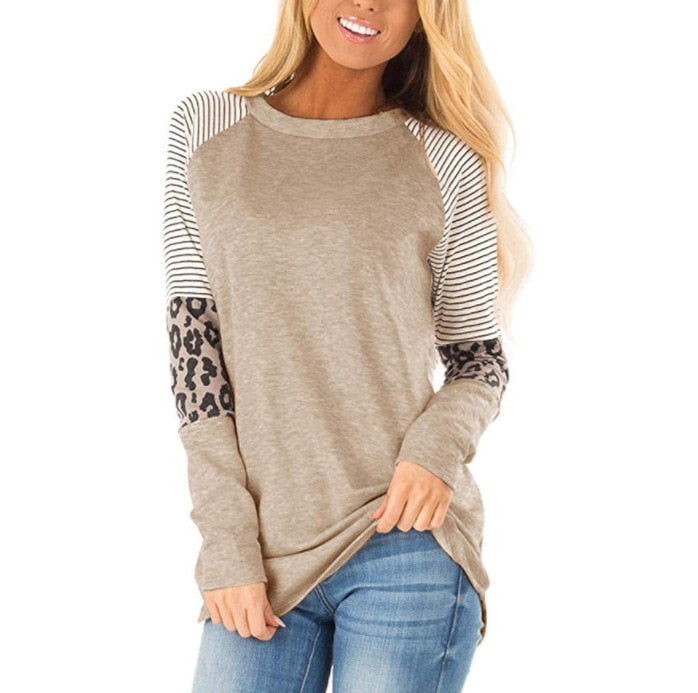 Striped Leopard Patch Baseball Long Sleeve T-Shirt