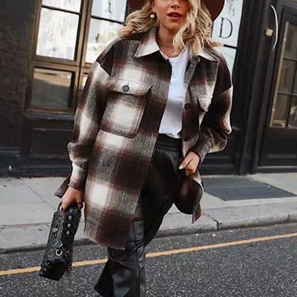 Vintage Long Sleeve Woolen Thick Plaid Coat