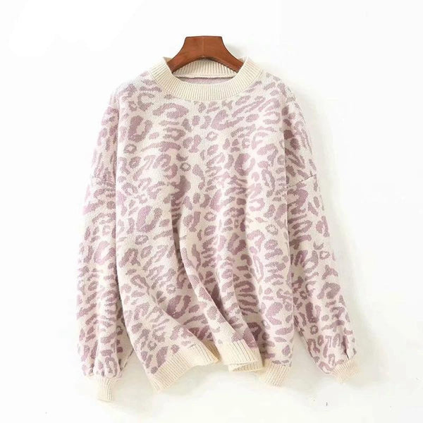 Women's Fashion Leopard Knit Pullover