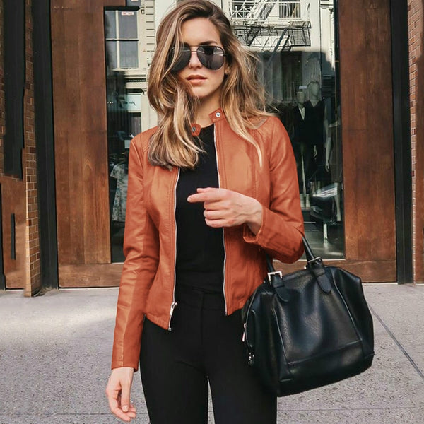 Spring PU Leather Cropped Jackets