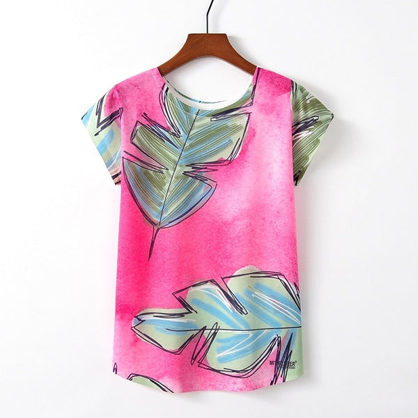 Cute Style Bird Print Casual Short Sleeve Tops