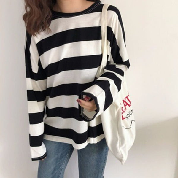 Women's Striped Print Long Sleeve T-Shirt