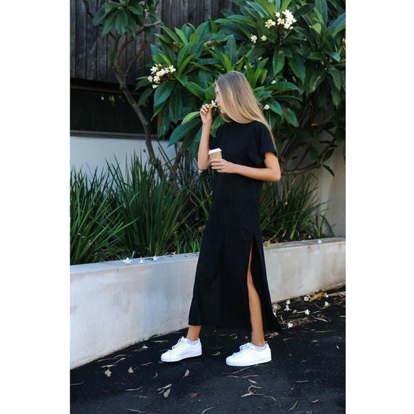 Maxi T Shirt Vintage Bandage Knitted Boho Black Long Dress