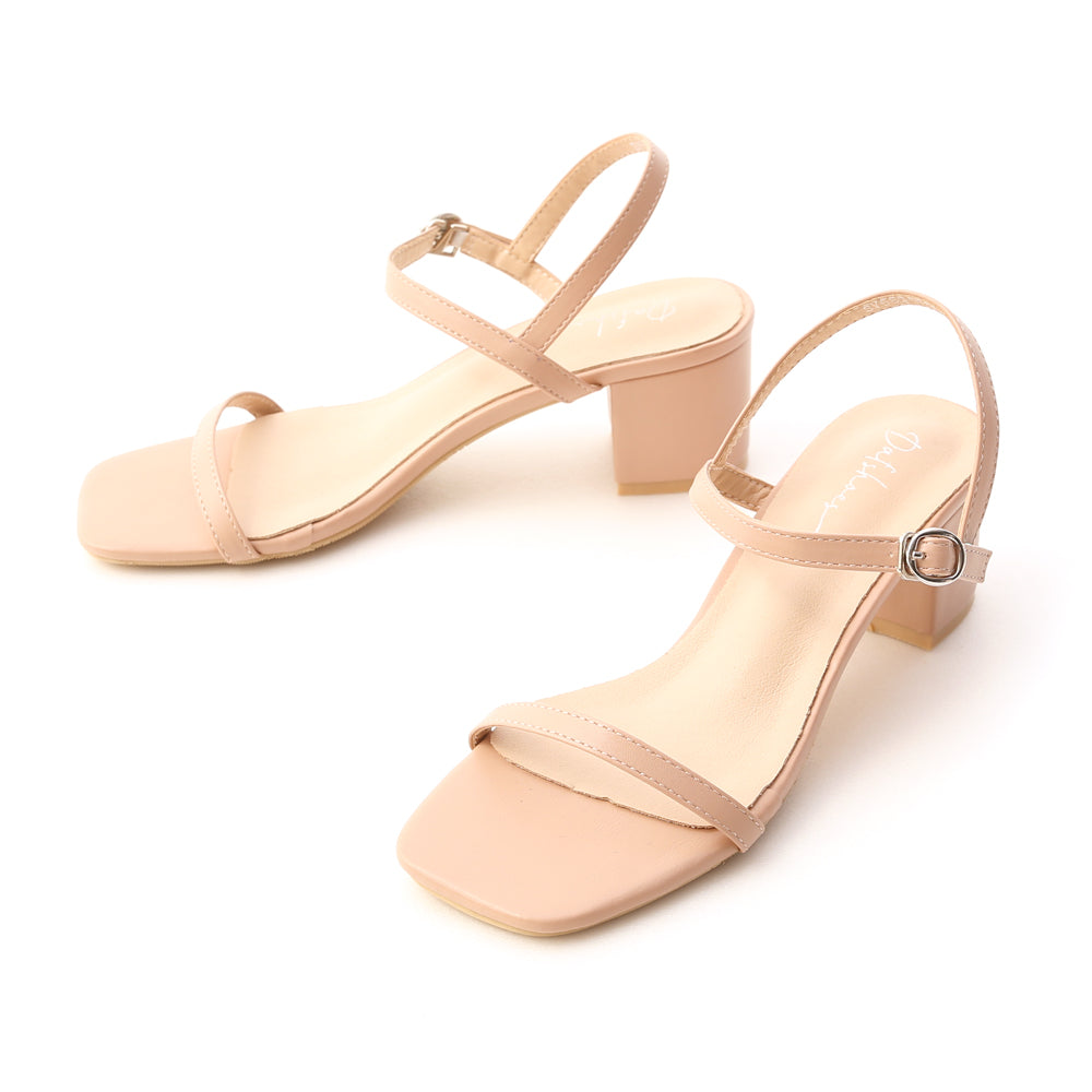 Square Toe Strappy Mid Heel Sandals Nude Pink S00007320