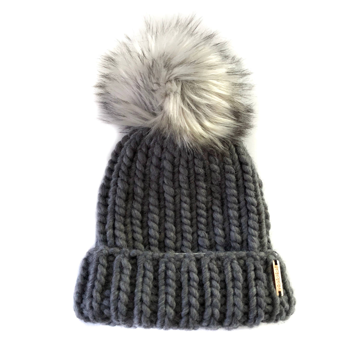 Faux Fur hat in Charcoal