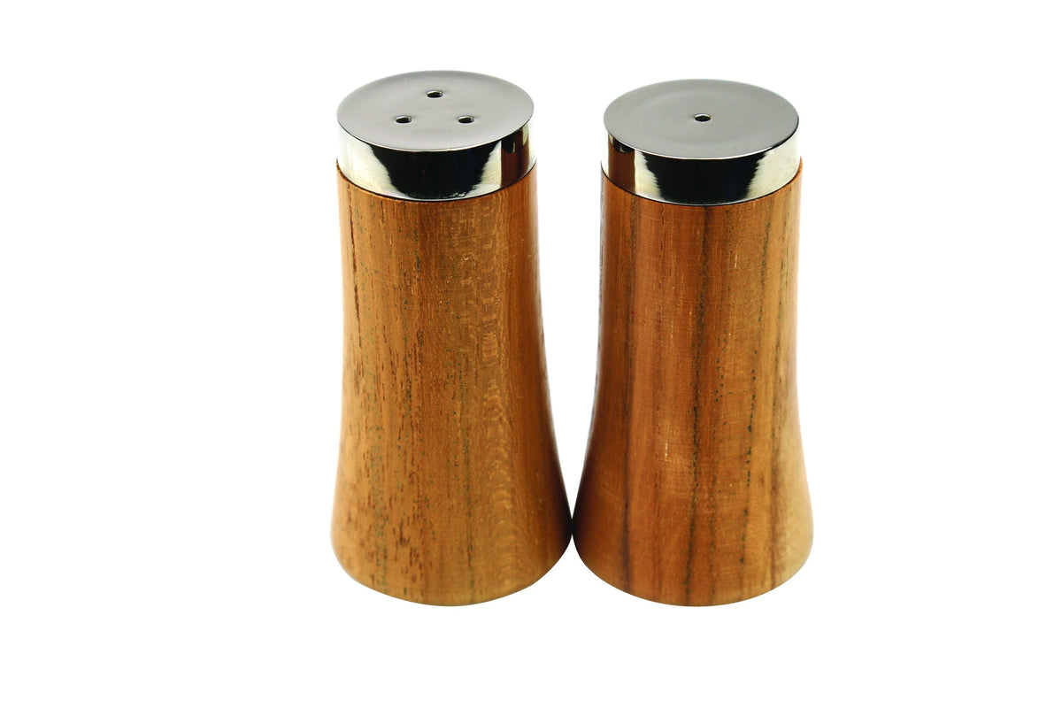 Teak and Stainless Salt & Pepper Shakers
