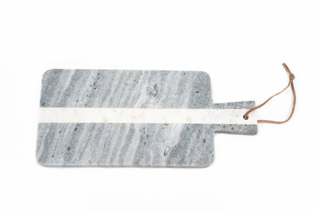 Grey + White Marble Stripe Serving Platter