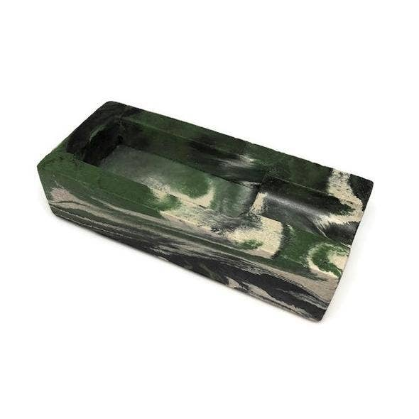 Concrete Cigar Rest - Green Marbled